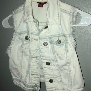 White Cropped Jean Vest